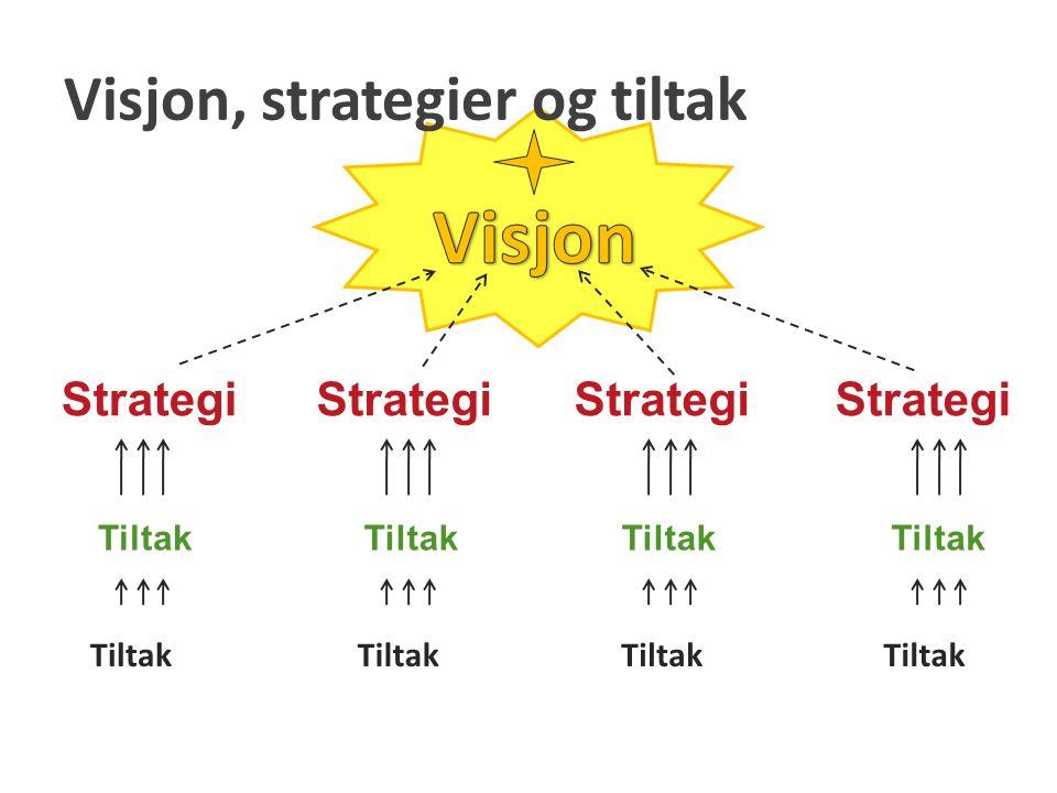 Oppsummering For å kunne lage strategier og planer trengs visjoner og hovedmål.