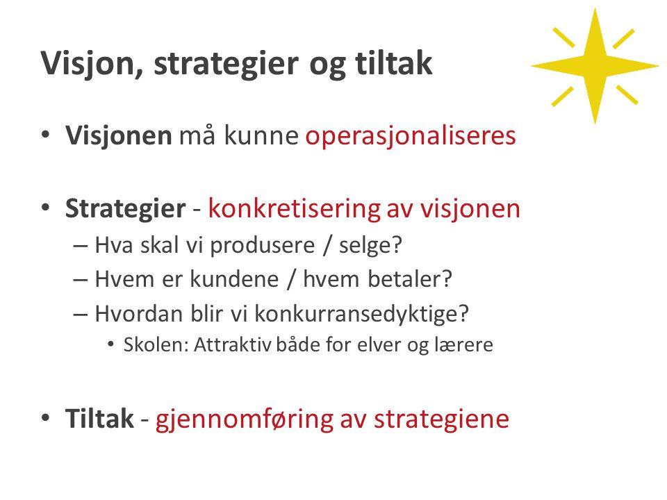 Visjon, strategier og tiltak Visjonen må kunne operasjonaliseres Strategier - konkretisering av visjonen – Hva skal vi produsere / selge? – Hvem er ku