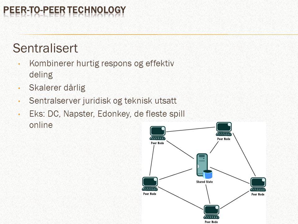 Desentralisert Rent P2P Skalerer bra Noe tregere respons Eks: Bittorrent, Limewire, DNS Supernoder Mer anonymt og dermed populært blant fildelere