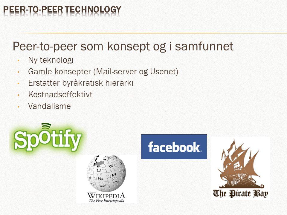 Peer-to-peer som konsept og i samfunnet Ny teknologi Gamle konsepter (Mail-server og Usenet) Erstatter byråkratisk hierarki Kostnadseffektivt Vandalisme