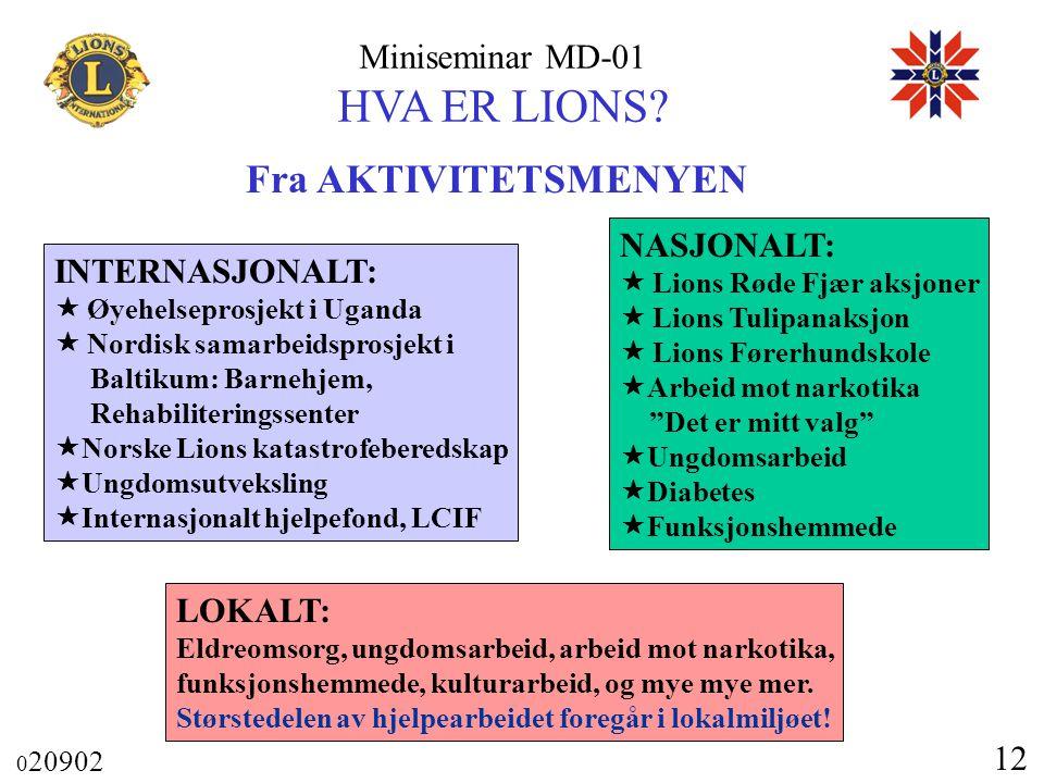 Miniseminar MD-01 HVA ER LIONS? 0 20902 12 Fra AKTIVITETSMENYEN INTERNASJONALT:  Øyehelseprosjekt i Uganda  Nordisk samarbeidsprosjekt i Baltikum: B