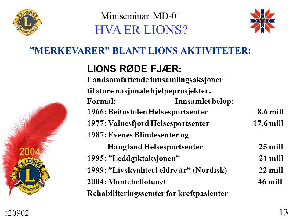 """Miniseminar MD-01 HVA ER LIONS? 0 20902 13 """"MERKEVARER"""" BLANT LIONS AKTIVITETER: LIONS RØDE FJÆR : Landsomfattende innsamlingsaksjoner til store nasjo"""