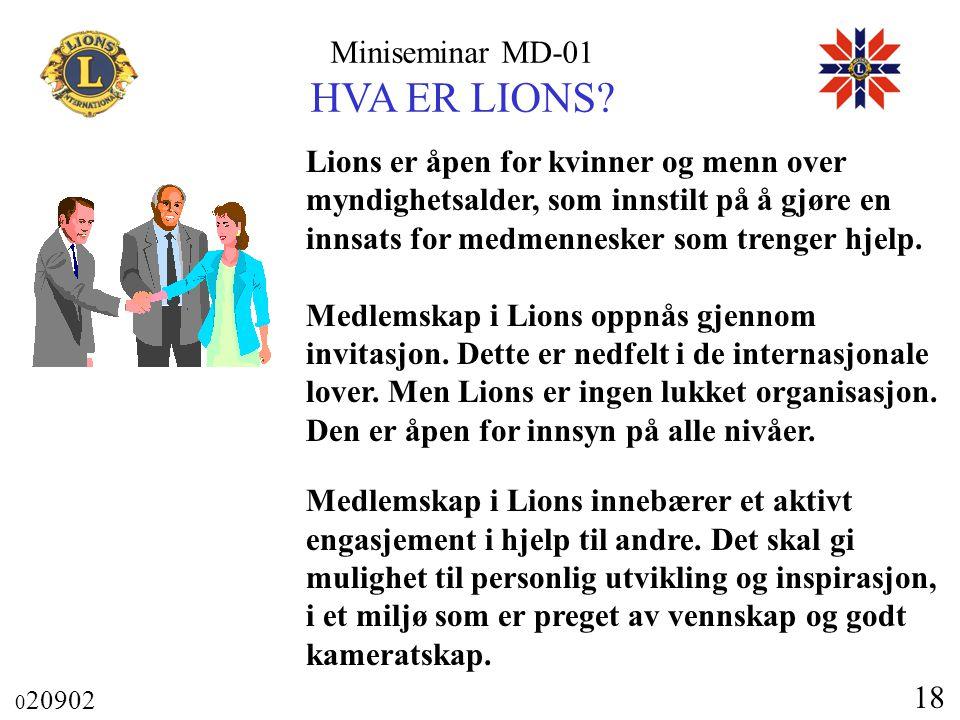 Miniseminar MD-01 HVA ER LIONS? 0 20902 18 Lions er åpen for kvinner og menn over myndighetsalder, som innstilt på å gjøre en innsats for medmennesker
