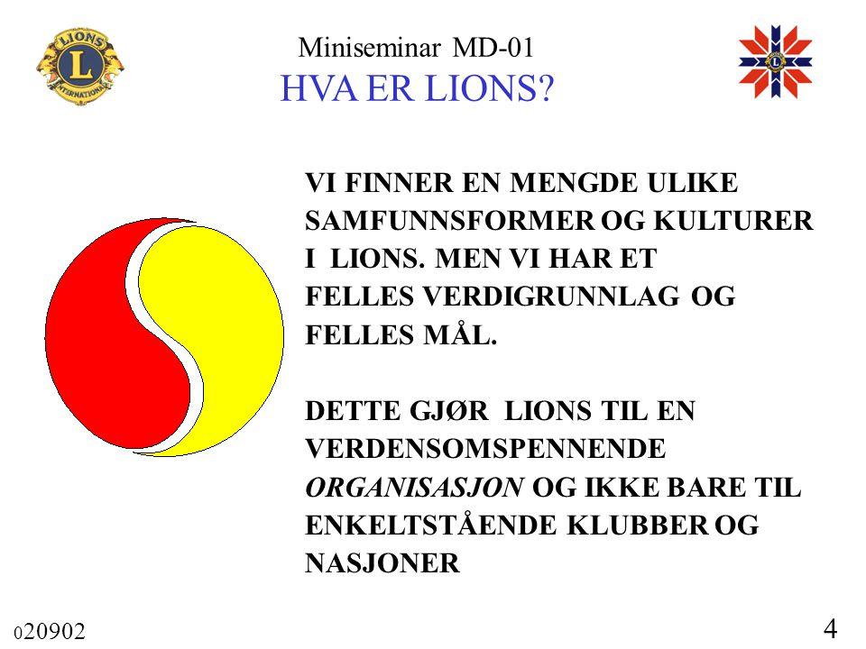 Miniseminar MD-01 HVA ER LIONS? 0 20902 4 VI FINNER EN MENGDE ULIKE SAMFUNNSFORMER OG KULTURER I LIONS. MEN VI HAR ET FELLES VERDIGRUNNLAG OG FELLES M