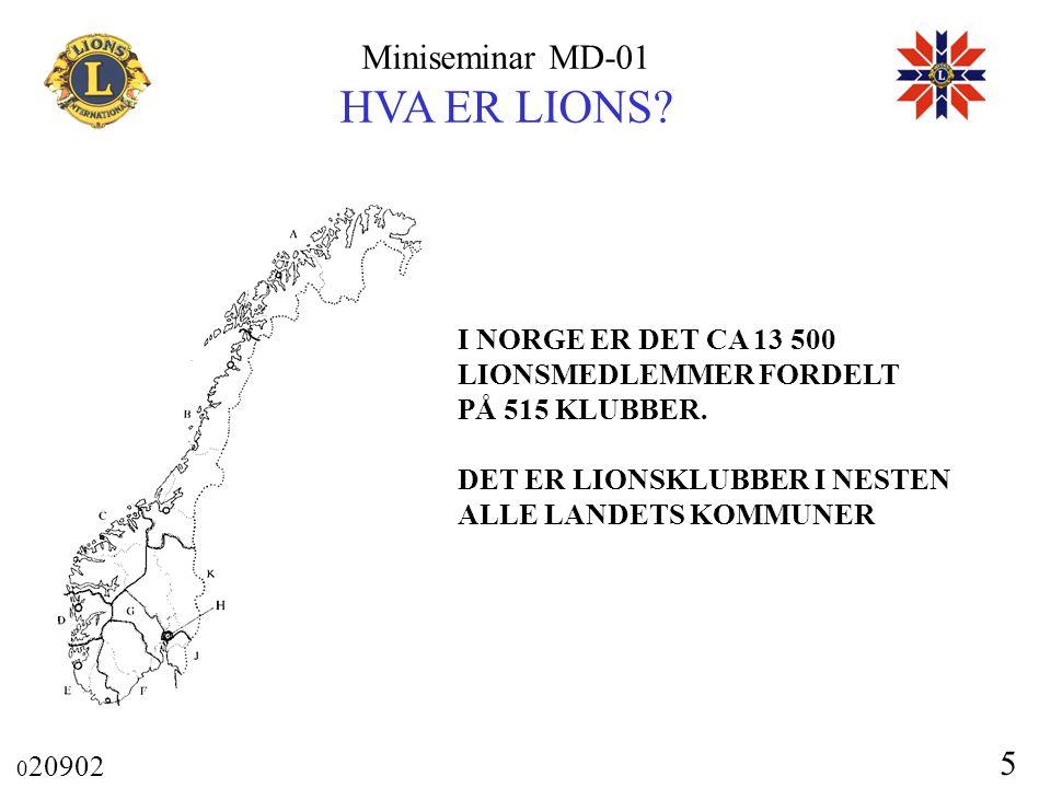 Miniseminar MD-01 HVA ER LIONS? 0 20902 5 I NORGE ER DET CA 13 500 LIONSMEDLEMMER FORDELT PÅ 515 KLUBBER. DET ER LIONSKLUBBER I NESTEN ALLE LANDETS KO