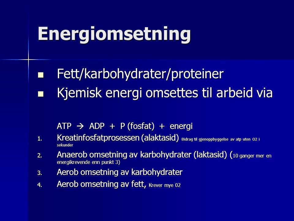 Energiomsetning Fett/karbohydrater/proteiner Fett/karbohydrater/proteiner Kjemisk energi omsettes til arbeid via Kjemisk energi omsettes til arbeid via ATP  ADP + P (fosfat) + energi 1.