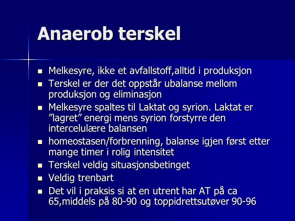 Anaerob terskel Melkesyre, ikke et avfallstoff,alltid i produksjon Melkesyre, ikke et avfallstoff,alltid i produksjon Terskel er der det oppstår ubalanse mellom produksjon og eliminasjon Terskel er der det oppstår ubalanse mellom produksjon og eliminasjon Melkesyre spaltes til Laktat og syrion.