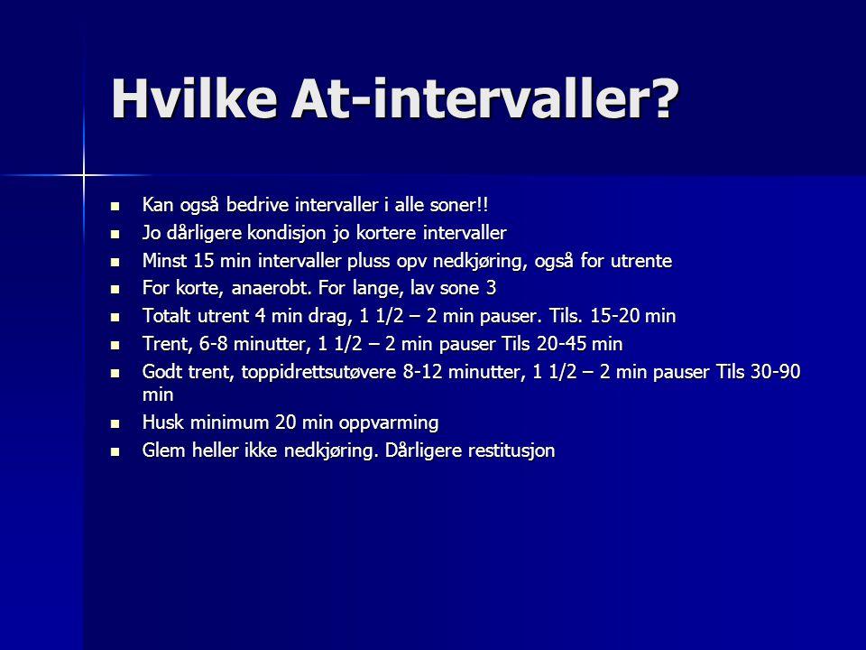 Hvilke At-intervaller? Kan også bedrive intervaller i alle soner!! Kan også bedrive intervaller i alle soner!! Jo dårligere kondisjon jo kortere inter