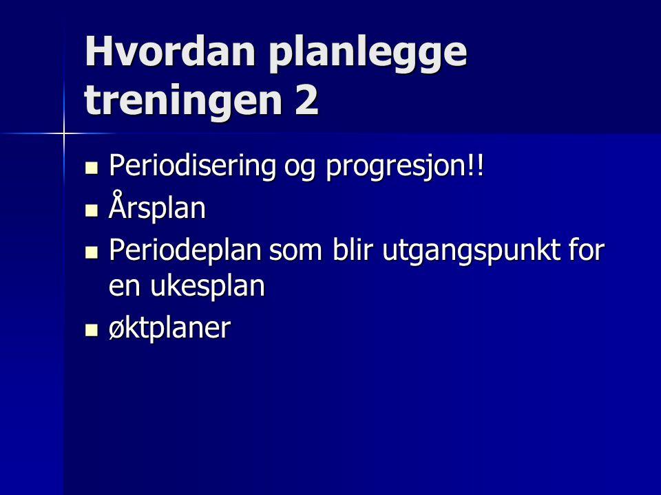 Hvordan planlegge treningen 2 Periodisering og progresjon!! Periodisering og progresjon!! Årsplan Årsplan Periodeplan som blir utgangspunkt for en uke
