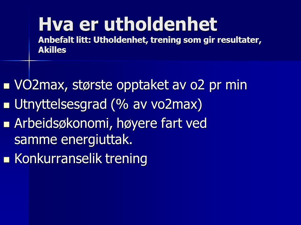 Hva er utholdenhet Anbefalt litt: Utholdenhet, trening som gir resultater, Akilles VO2max, største opptaket av o2 pr min VO2max, største opptaket av o2 pr min Utnyttelsesgrad (% av vo2max) Utnyttelsesgrad (% av vo2max) Arbeidsøkonomi, høyere fart ved samme energiuttak.
