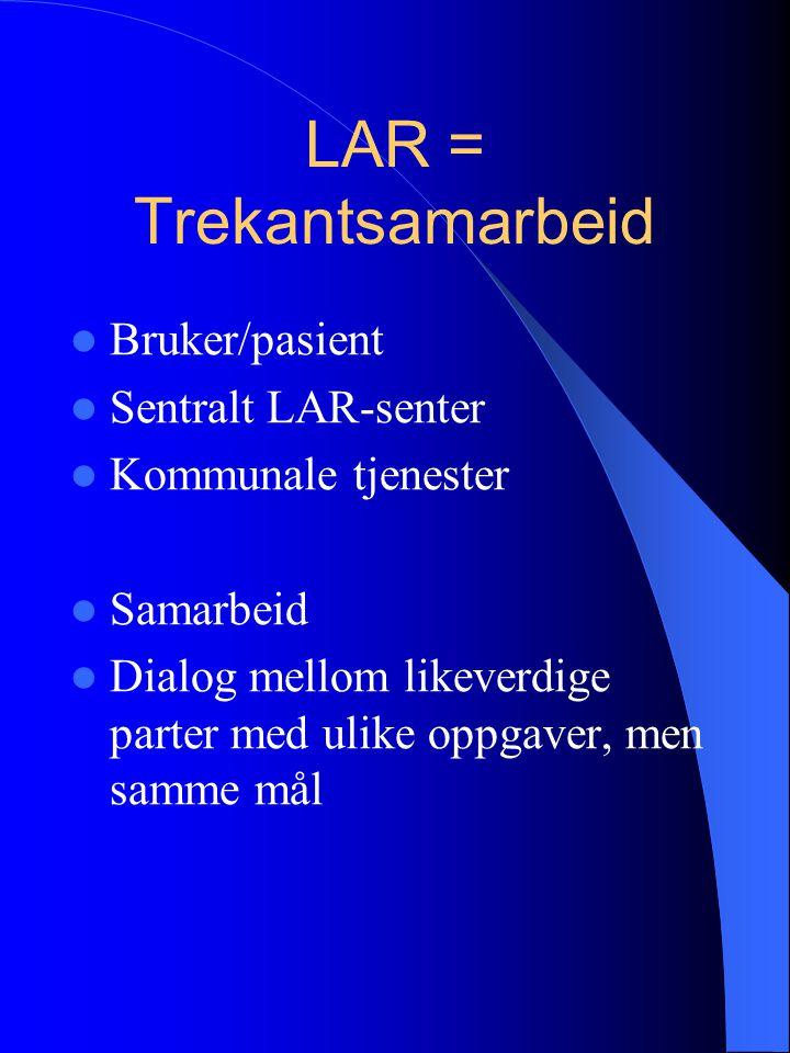 LAR = Trekantsamarbeid Bruker/pasient Sentralt LAR-senter Kommunale tjenester Samarbeid Dialog mellom likeverdige parter med ulike oppgaver, men samme