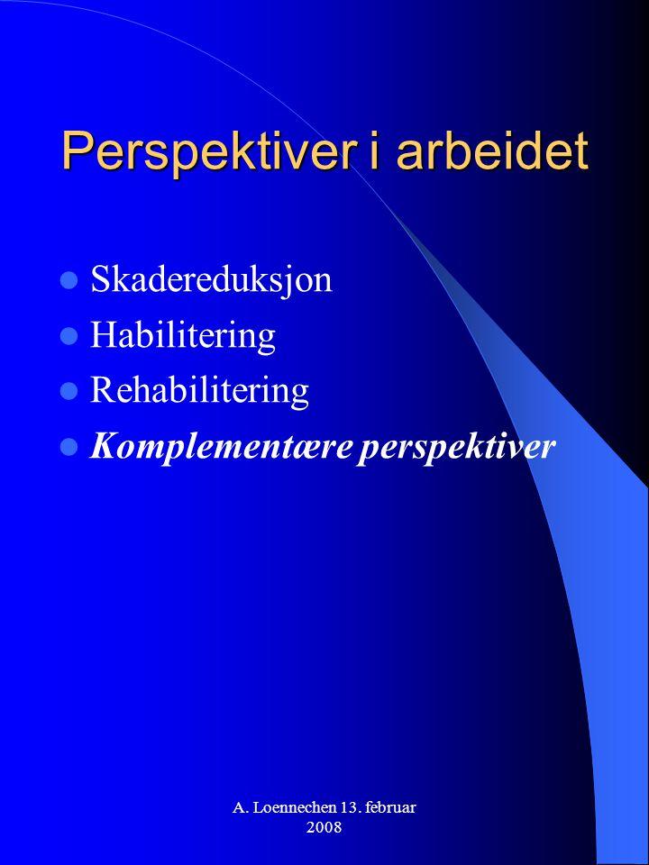 A. Loennechen 13. februar 2008 Perspektiver i arbeidet Skadereduksjon Habilitering Rehabilitering Komplementære perspektiver