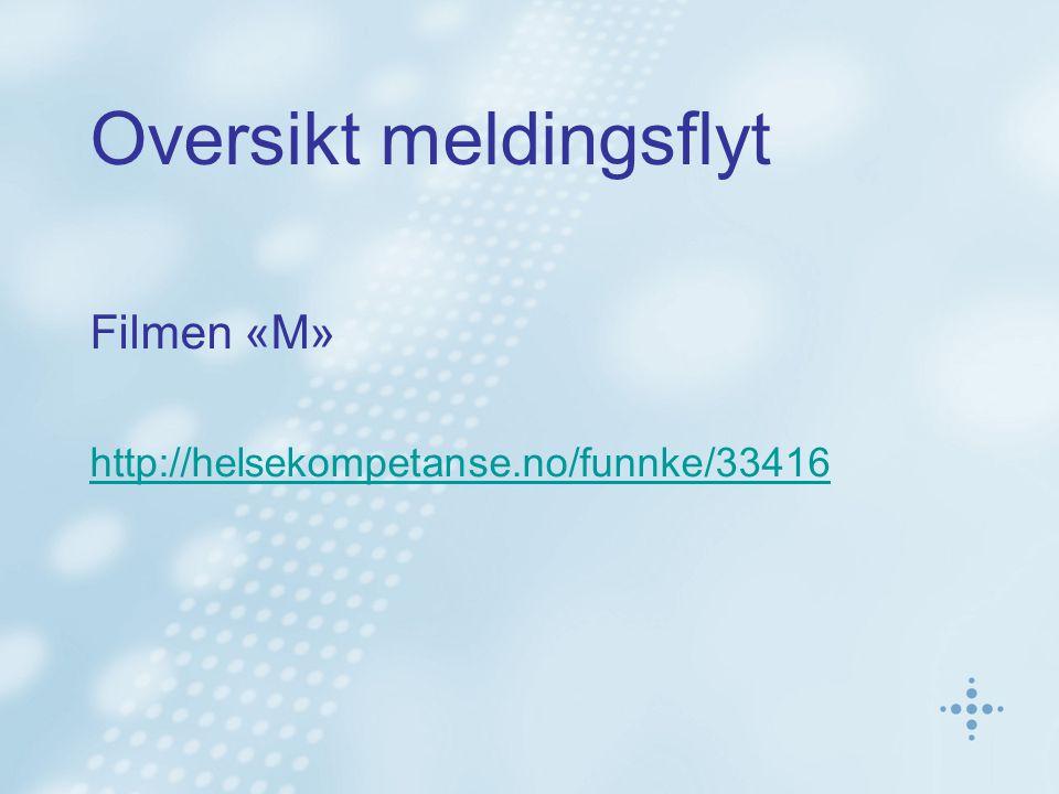 Oversikt meldingsflyt Filmen «M» http://helsekompetanse.no/funnke/33416