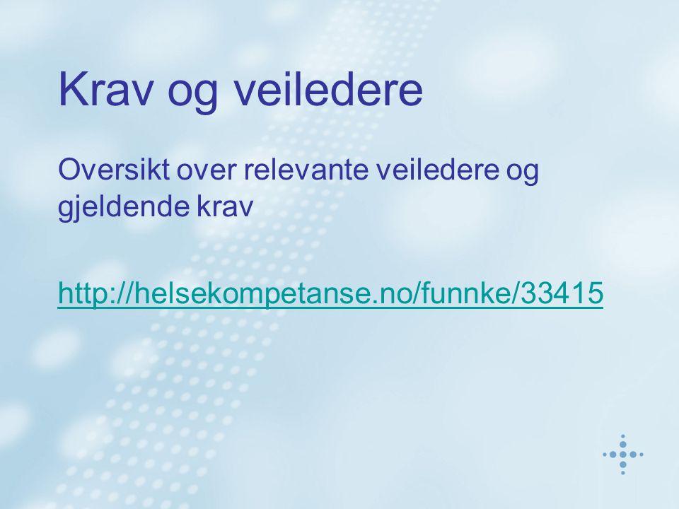 Krav og veiledere Oversikt over relevante veiledere og gjeldende krav http://helsekompetanse.no/funnke/33415