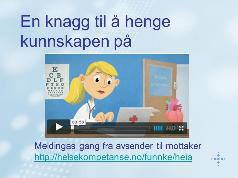 En knagg til å henge kunnskapen på Meldingas gang fra avsender til mottaker http://helsekompetanse.no/funnke/heia