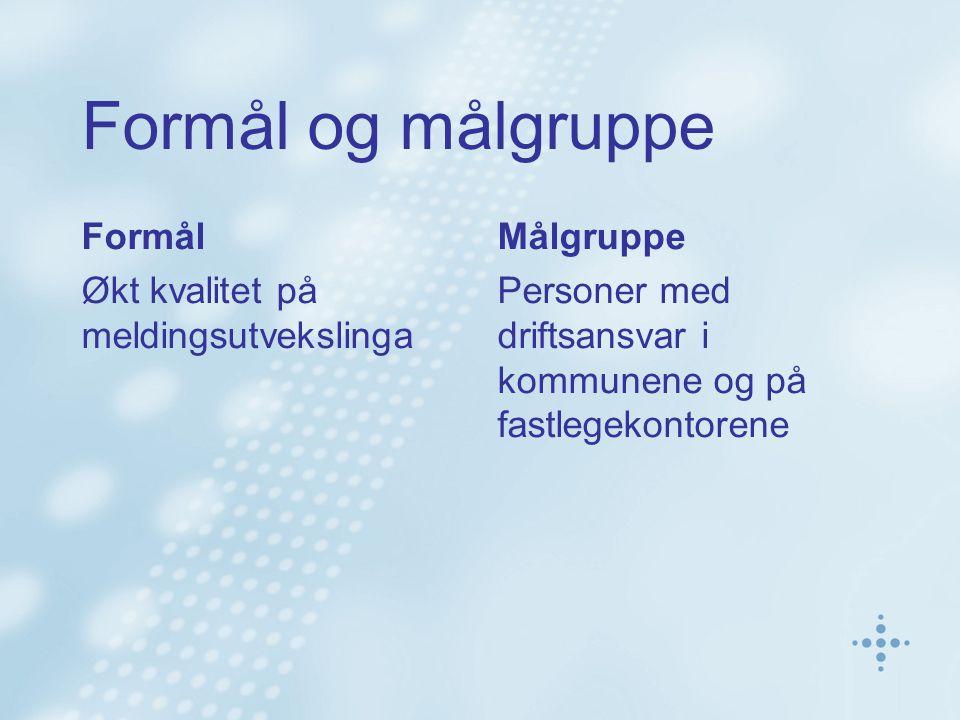 Formål og målgruppe Formål Økt kvalitet på meldingsutvekslinga Målgruppe Personer med driftsansvar i kommunene og på fastlegekontorene