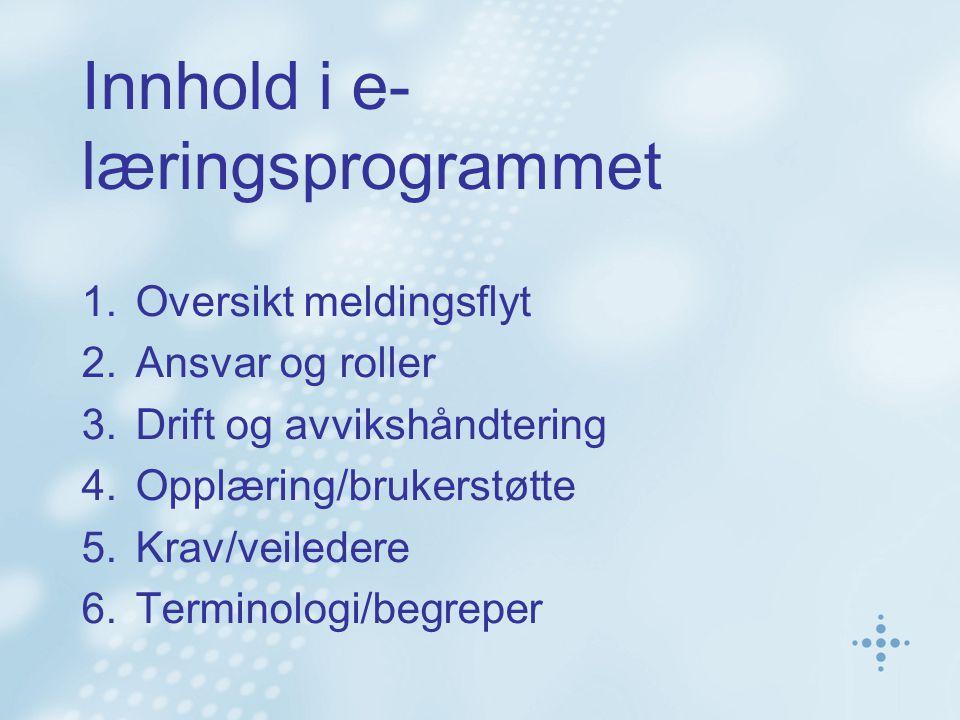 Innhold i e- læringsprogrammet 1.Oversikt meldingsflyt 2.Ansvar og roller 3.Drift og avvikshåndtering 4.Opplæring/brukerstøtte 5.Krav/veiledere 6.Terminologi/begreper