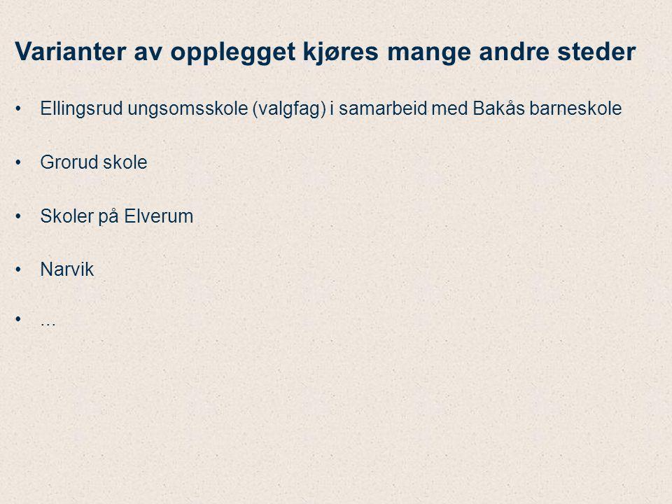 Varianter av opplegget kjøres mange andre steder Ellingsrud ungsomsskole (valgfag) i samarbeid med Bakås barneskole Grorud skole Skoler på Elverum Nar