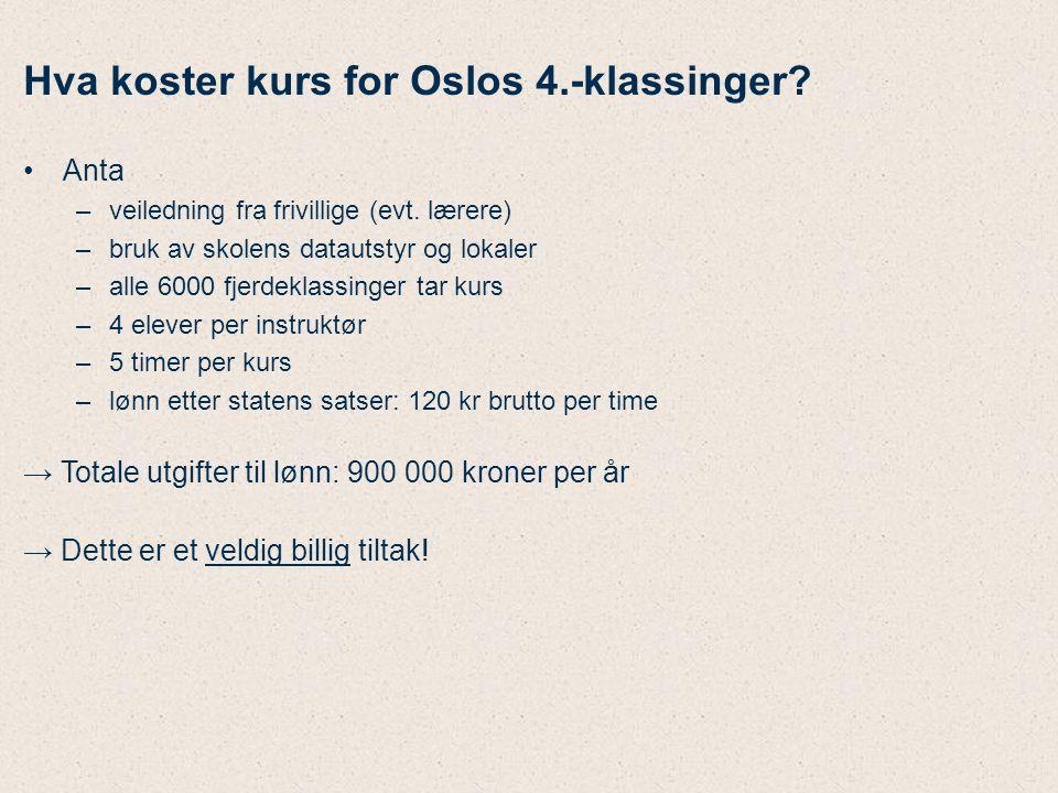 Hva koster kurs for Oslos 4.-klassinger? Anta –veiledning fra frivillige (evt. lærere) –bruk av skolens datautstyr og lokaler –alle 6000 fjerdeklassin