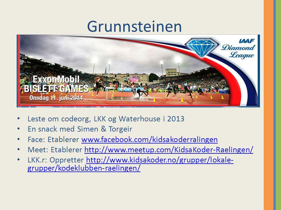 Grunnsteinen Leste om codeorg, LKK og Waterhouse i 2013 En snack med Simen & Torgeir Face: Etablerer www.facebook.com/kidsakoderralingenwww.facebook.com/kidsakoderralingen Meet: Etablerer http://www.meetup.com/KidsaKoder-Raelingen/http://www.meetup.com/KidsaKoder-Raelingen/ LKK.r: Oppretter http://www.kidsakoder.no/grupper/lokale- grupper/kodeklubben-raelingen/http://www.kidsakoder.no/grupper/lokale- grupper/kodeklubben-raelingen/