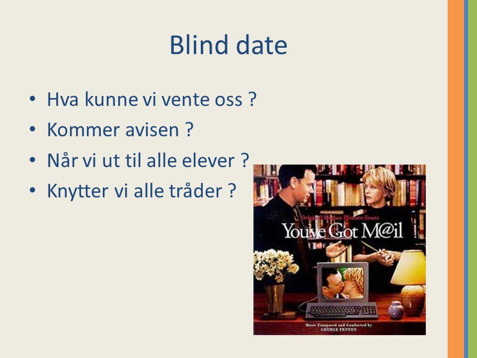 Blind date Hva kunne vi vente oss . Kommer avisen .