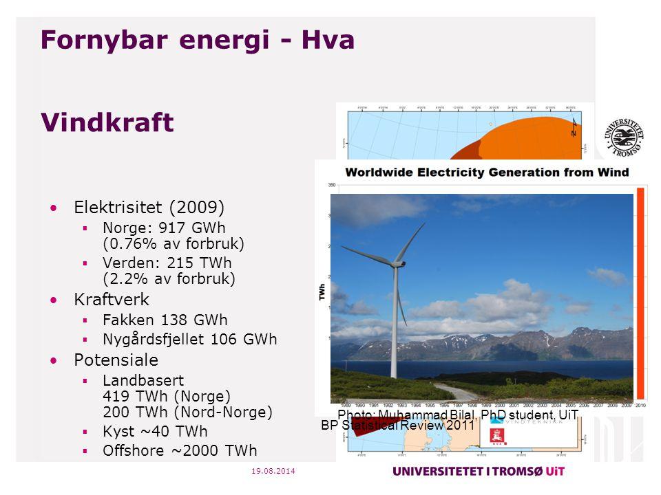 19.08.2014 Vindkraft Elektrisitet (2009)  Norge: 917 GWh (0.76% av forbruk)  Verden: 215 TWh (2.2% av forbruk) Kraftverk  Fakken 138 GWh  Nygårdsf