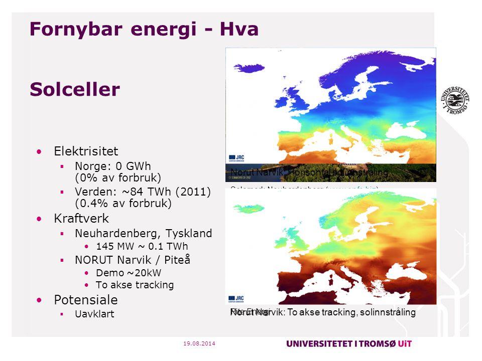 19.08.2014 Solceller Elektrisitet  Norge: 0 GWh (0% av forbruk)  Verden: ~84 TWh (2011) (0.4% av forbruk) Kraftverk  Neuhardenberg, Tyskland 145 MW