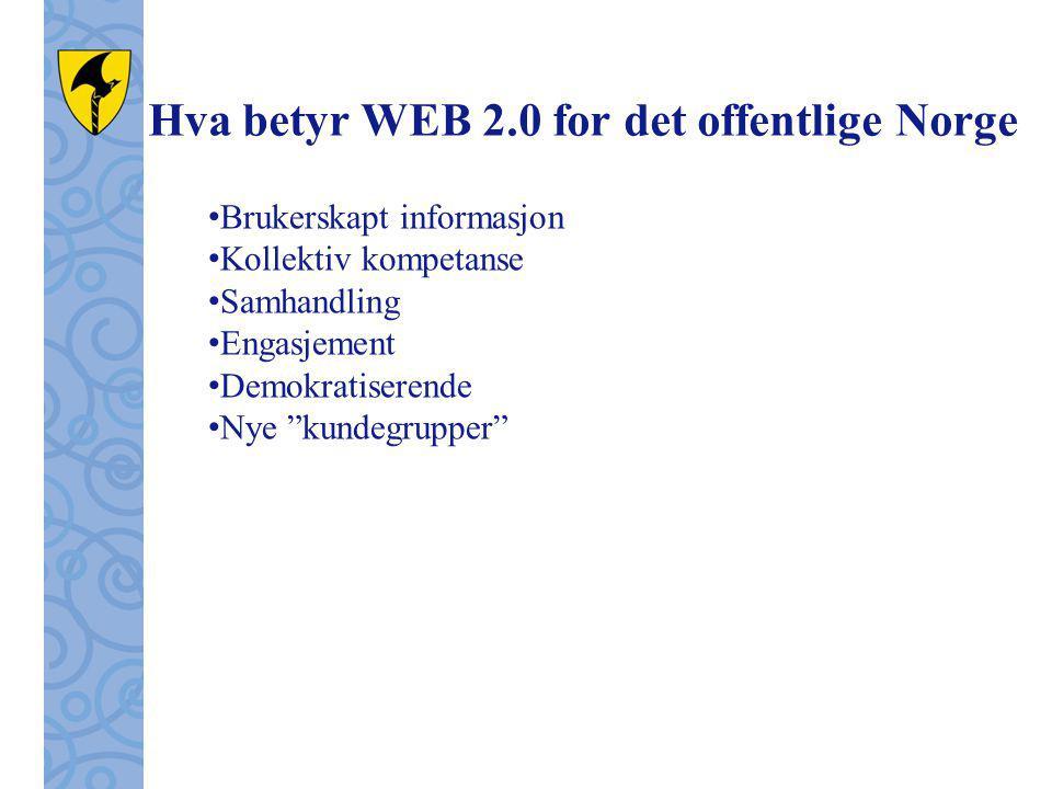 Hva betyr WEB 2.0 for det offentlige Norge Brukerskapt informasjon Kollektiv kompetanse Samhandling Engasjement Demokratiserende Nye kundegrupper