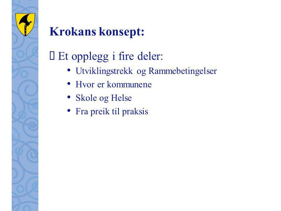 Krokans konsept:  Et opplegg i fire deler: Utviklingstrekk og Rammebetingelser Hvor er kommunene Skole og Helse Fra preik til praksis