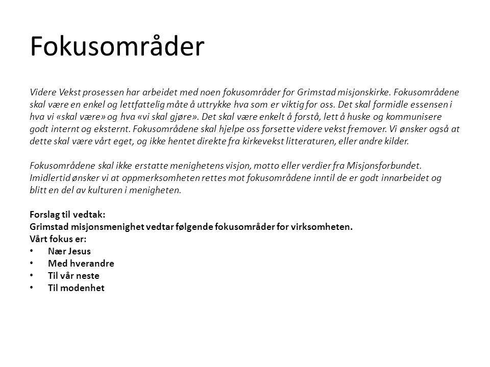Fokusområder Videre Vekst prosessen har arbeidet med noen fokusområder for Grimstad misjonskirke.