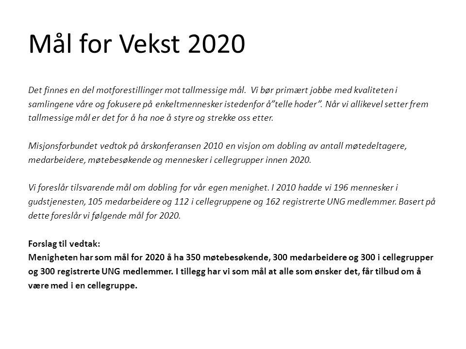 Mål for Vekst 2020 Det finnes en del motforestillinger mot tallmessige mål.