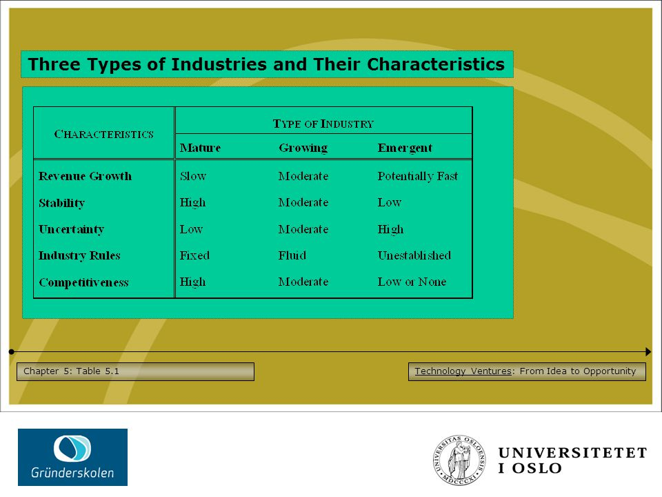 Technology Ventures: From Idea to OpportunityChapter 5: Table 5.1 Three Types of Industries and Their Characteristics