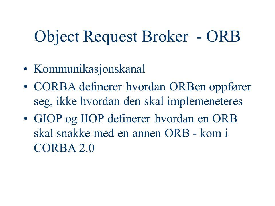 Object Request Broker - ORB Kommunikasjonskanal CORBA definerer hvordan ORBen oppfører seg, ikke hvordan den skal implemeneteres GIOP og IIOP definerer hvordan en ORB skal snakke med en annen ORB - kom i CORBA 2.0