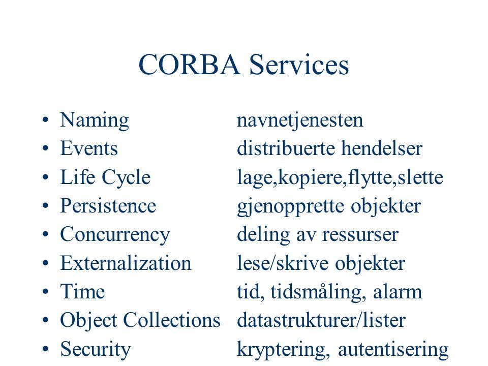 CORBA Services Namingnavnetjenesten Eventsdistribuerte hendelser Life Cyclelage,kopiere,flytte,slette Persistencegjenopprette objekter Concurrencydeling av ressurser Externalization lese/skrive objekter Timetid, tidsmåling, alarm Object Collectionsdatastrukturer/lister Securitykryptering, autentisering