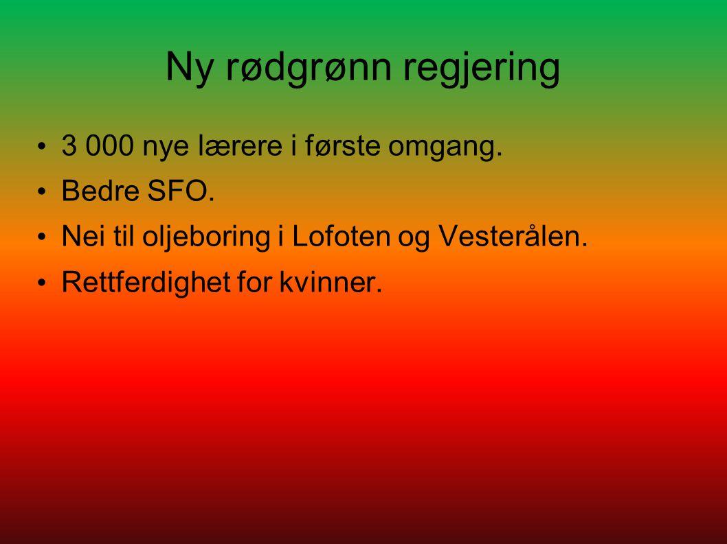 Ny rødgrønn regjering 3 000 nye lærere i første omgang. Bedre SFO. Nei til oljeboring i Lofoten og Vesterålen. Rettferdighet for kvinner.