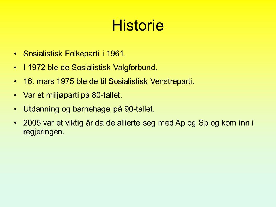 Historie Sosialistisk Folkeparti i 1961. I 1972 ble de Sosialistisk Valgforbund. 16. mars 1975 ble de til Sosialistisk Venstreparti. Var et miljøparti