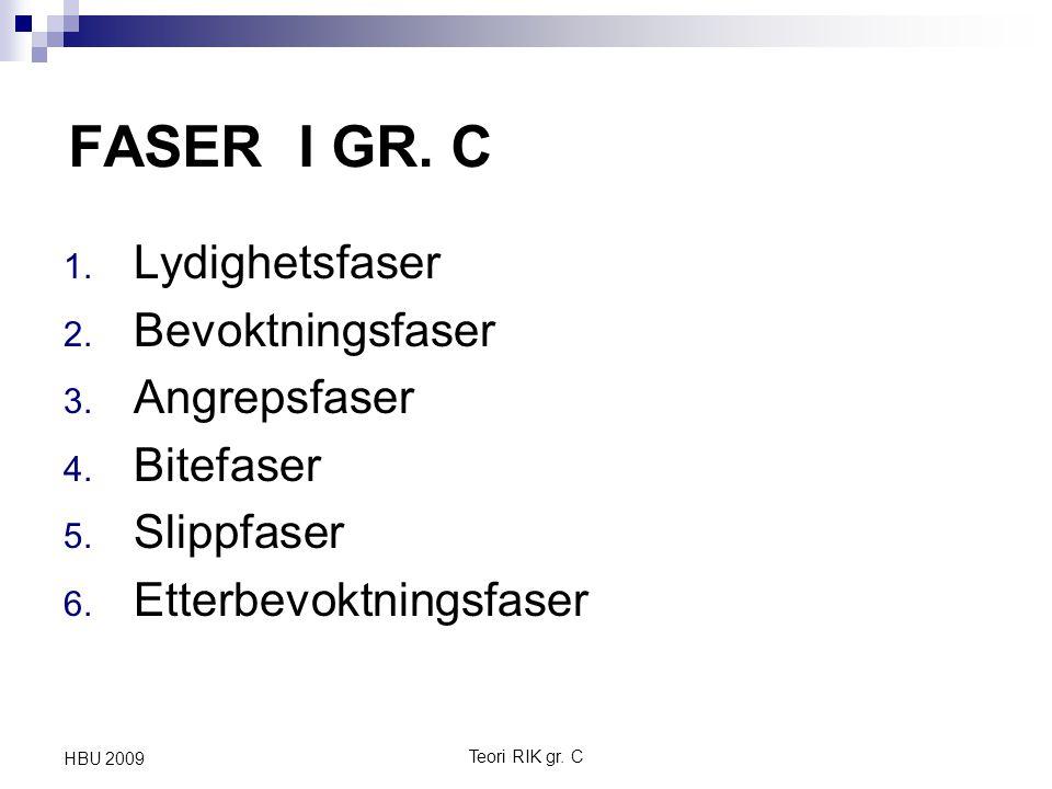 FASER I GR. C 1. Lydighetsfaser 2. Bevoktningsfaser 3. Angrepsfaser 4. Bitefaser 5. Slippfaser 6. Etterbevoktningsfaser Teori RIK gr. C HBU 2009