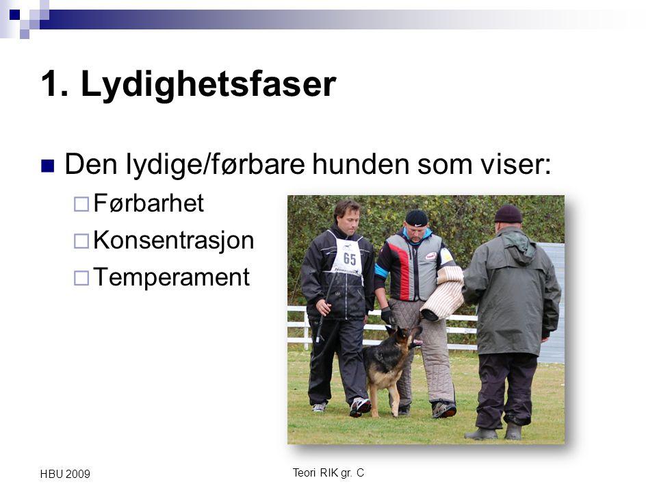 1. Lydighetsfaser Den lydige/førbare hunden som viser:  Førbarhet  Konsentrasjon  Temperament Teori RIK gr. C HBU 2009