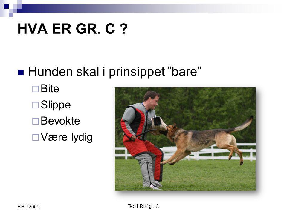 """Teori RIK gr. C HBU 2009 HVA ER GR. C ? Hunden skal i prinsippet """"bare""""  Bite  Slippe  Bevokte  Være lydig"""