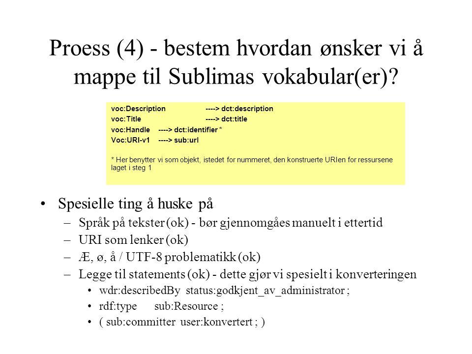 voc:Description ----> dct:description voc:Title ----> dct:title voc:Handle ----> dct:identifier * Voc:URI-v1 ----> sub:url * Her benytter vi som objek
