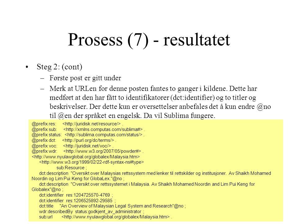 Prosess (7) - resultatet Steg 2: (cont) –Første post er gitt under –Merk at URLen for denne posten fantes to ganger i kildene. Dette har medført at de