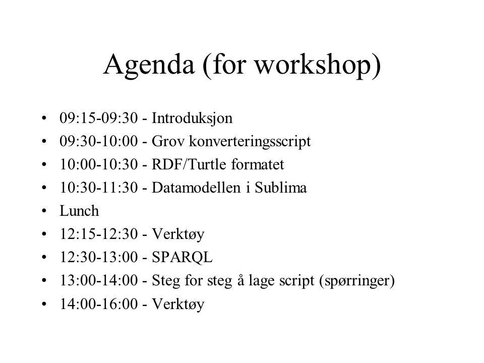 Agenda (for workshop) 09:15-09:30 - Introduksjon 09:30-10:00 - Grov konverteringsscript 10:00-10:30 - RDF/Turtle formatet 10:30-11:30 - Datamodellen i Sublima Lunch 12:15-12:30 - Verktøy 12:30-13:00 - SPARQL 13:00-14:00 - Steg for steg å lage script (spørringer) 14:00-16:00 - Verktøy