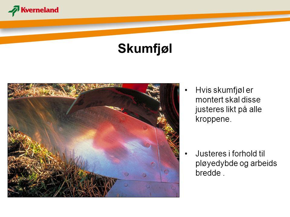 Skumfjøl Hvis skumfjøl er montert skal disse justeres likt på alle kroppene. Justeres i forhold til pløyedybde og arbeids bredde.