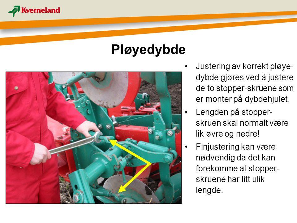 Justering av korrekt pløye- dybde gjøres ved å justere de to stopper-skruene som er monter på dybdehjulet. Lengden på stopper- skruen skal normalt vær
