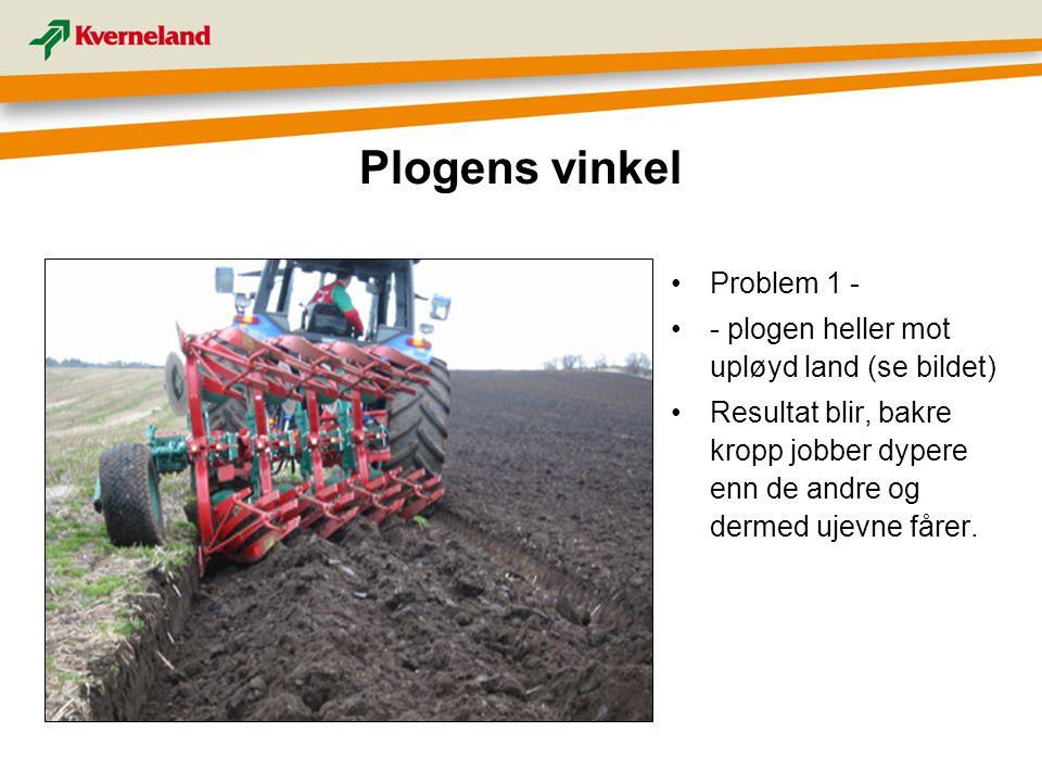 Problem 1 - - plogen heller mot upløyd land (se bildet) Resultat blir, bakre kropp jobber dypere enn de andre og dermed ujevne fårer. Plogens vinkel