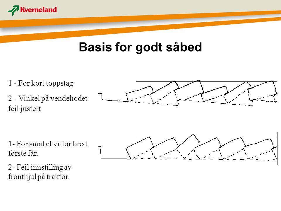 Basis for godt såbed 1 - For kort toppstag 2 - Vinkel på vendehodet feil justert 1- For smal eller for bred første får. 2- Feil innstilling av fronthj