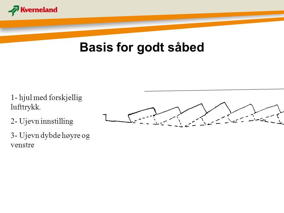 Basis for godt såbed 1- hjul med forskjellig lufttrykk. 2- Ujevn innstilling 3- Ujevn dybde høyre og venstre