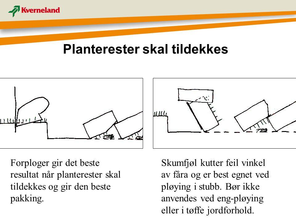 Planterester skal tildekkes Forploger gir det beste resultat når planterester skal tildekkes og gir den beste pakking. Skumfjøl kutter feil vinkel av