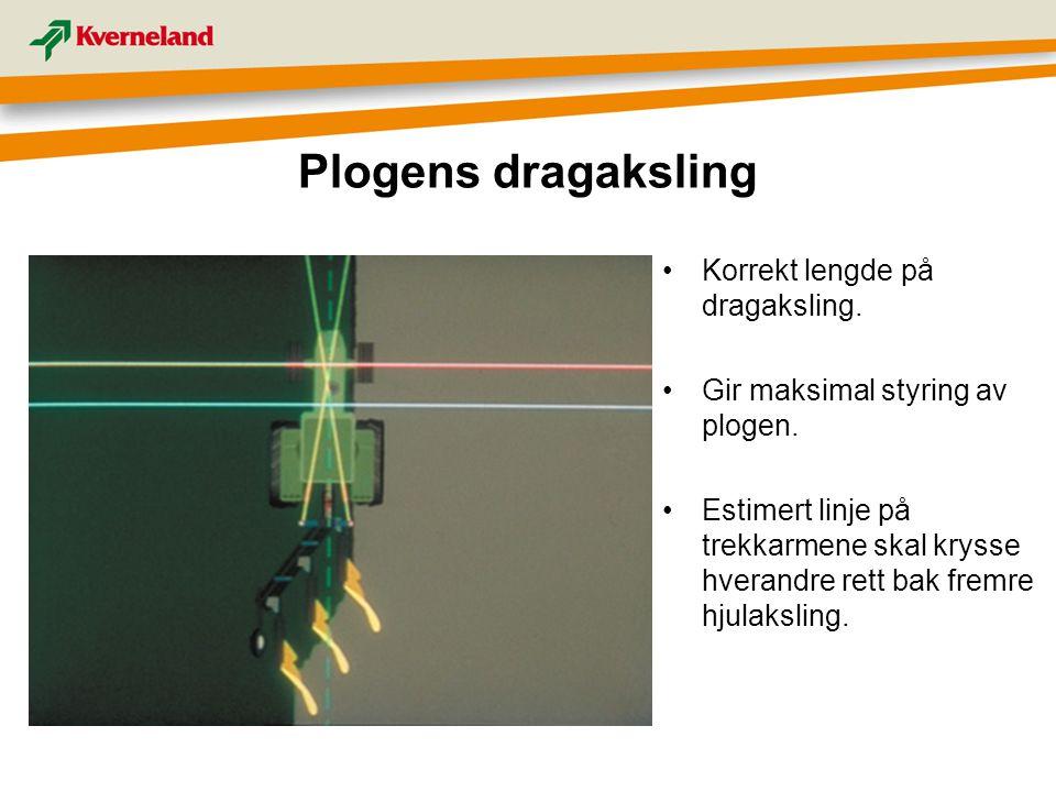 Plogens dragaksling Korrekt lengde på dragaksling. Gir maksimal styring av plogen. Estimert linje på trekkarmene skal krysse hverandre rett bak fremre