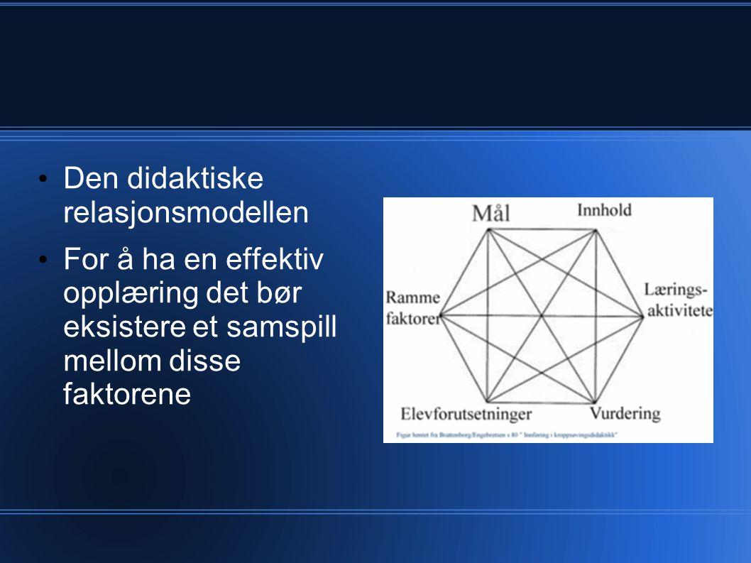 Den didaktiske relasjonsmodellen For å ha en effektiv opplæring det bør eksistere et samspill mellom disse faktorene